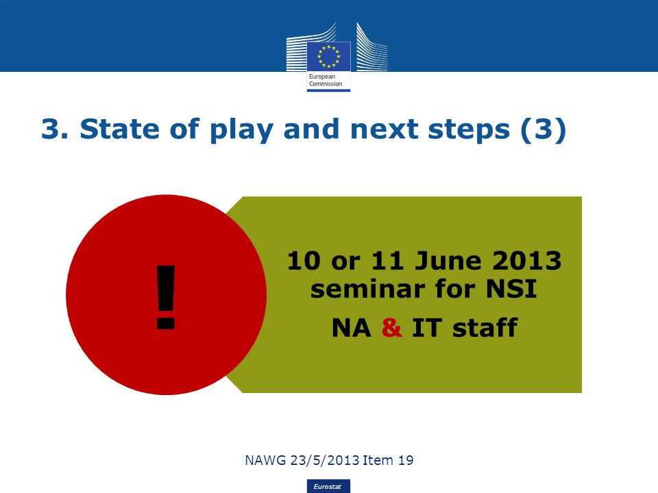 Eurostat 3. State of play and next steps (3) 10 or 11 June 2013 seminar for NSI NA & IT staff NAWG 23/5/2013 Item 19 !