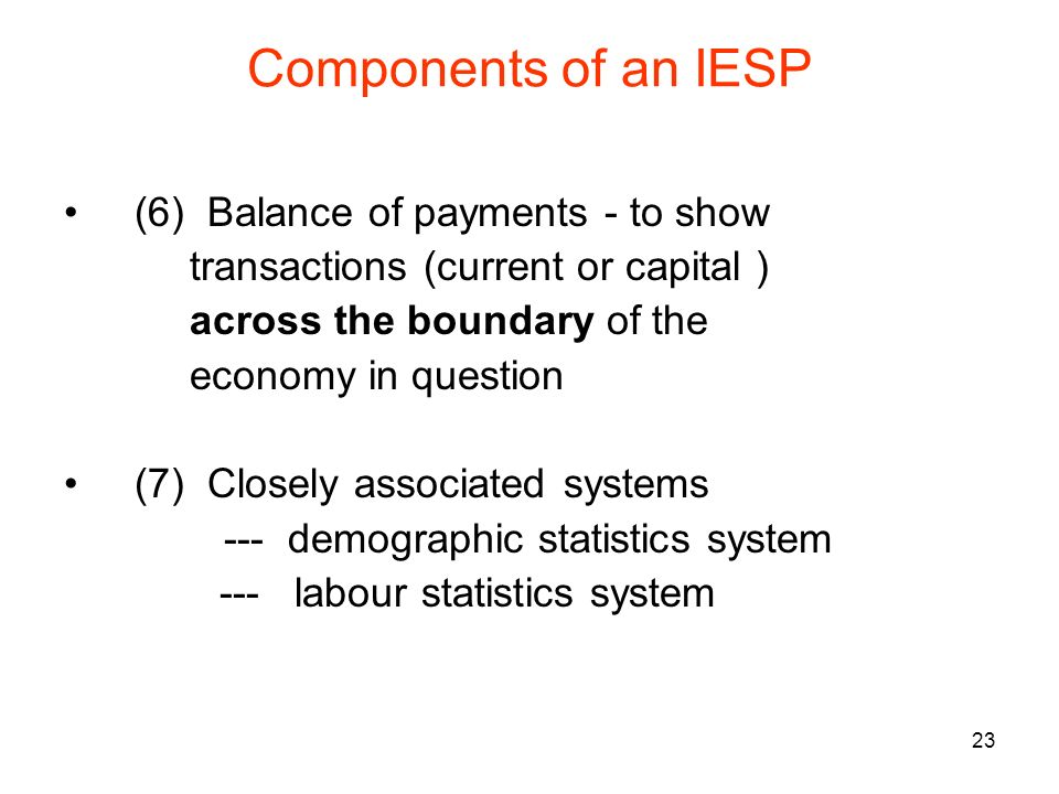 23 Components of an IESP (6) Balance of payments - to show transactions (current or capital ) across the boundary of the economy in question (7) Closely associated systems --- demographic statistics system --- labour statistics system