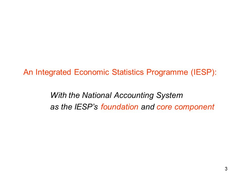 3 An Integrated Economic Statistics Programme (IESP): With the National Accounting System as the IESPs foundation and core component