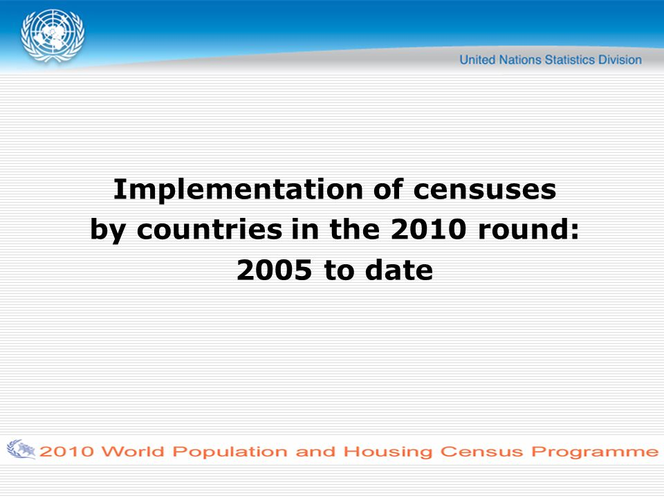 Implementation of censuses by countries in the 2010 round: 2005 to date
