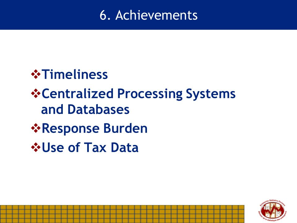 6. Achievements Timeliness Centralized Processing Systems and Databases Response Burden Use of Tax Data