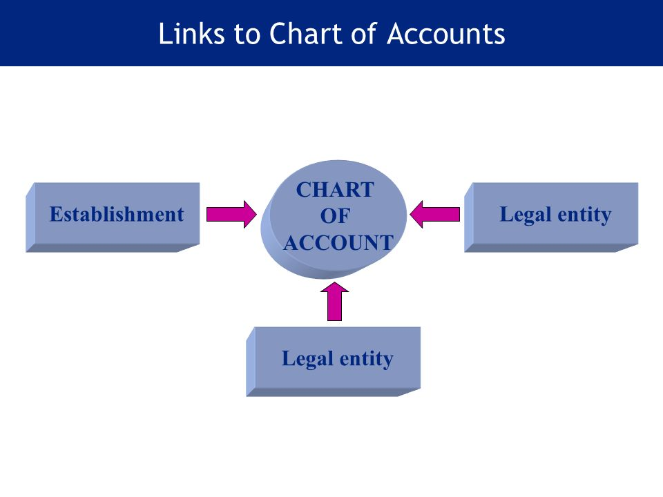 Links to Chart of Accounts CHART OF ACCOUNT Establishment Legal entity