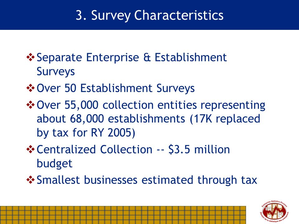 3. Survey Characteristics Separate Enterprise & Establishment Surveys Over 50 Establishment Surveys Over 55,000 collection entities representing about
