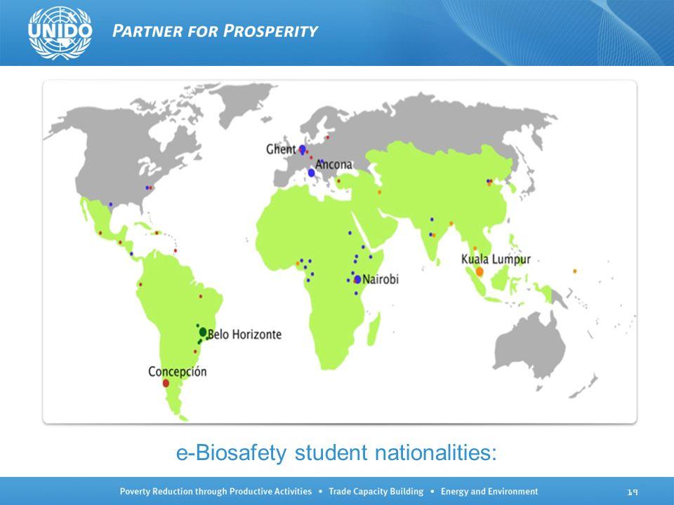 e-Biosafety student nationalities: 19