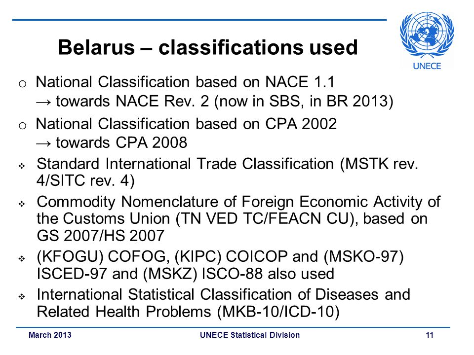 March 2013 UNECE Statistical Division 11 Belarus – classifications used o National Classification based on NACE 1.1 towards NACE Rev. 2 (now in SBS, i