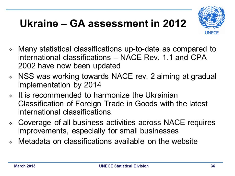 March 2013 UNECE Statistical Division 36 Ukraine – GA assessment in 2012 Many statistical classifications up-to-date as compared to international clas