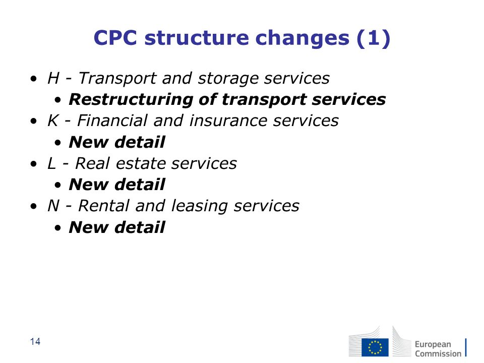 14 CPC structure changes (1) H - Transport and storage services Restructuring of transport services K - Financial and insurance services New detail L