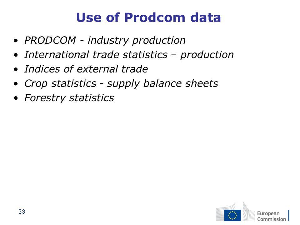 33 Use of Prodcom data PRODCOM - industry production International trade statistics – production Indices of external trade Crop statistics - supply ba