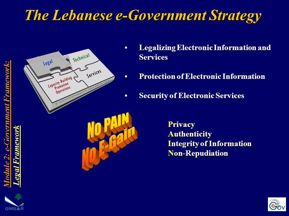 5 Legalizing Electronic Information and Services Protection of Electronic Information Security of Electronic Services Privacy Authenticity Integrity o