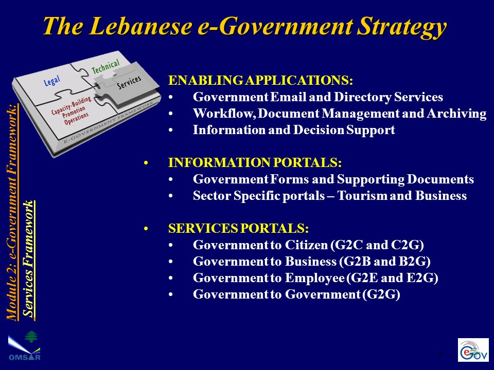 7 ENABLING APPLICATIONS: Government Email and Directory Services Workflow, Document Management and Archiving Information and Decision Support INFORMATION PORTALS: Government Forms and Supporting Documents Sector Specific portals – Tourism and Business SERVICES PORTALS: Government to Citizen (G2C and C2G) Government to Business (G2B and B2G) Government to Employee (G2E and E2G) Government to Government (G2G) Module 2: e-Government Framework: Services Framework Services Framework The Lebanese e-Government Strategy