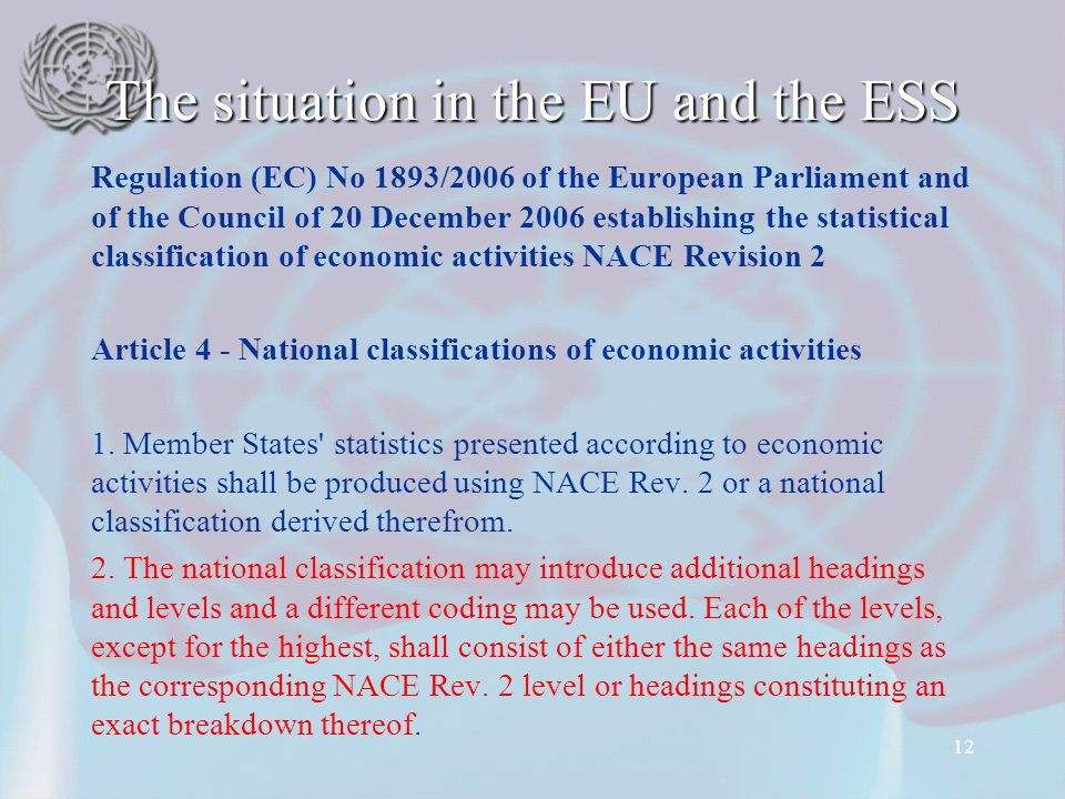 The situation in the EU and the ESS Regulation (EC) No 1893/2006 of the European Parliament and of the Council of 20 December 2006 establishing the statistical classification of economic activities NACE Revision 2 Article 4 - National classifications of economic activities 1.
