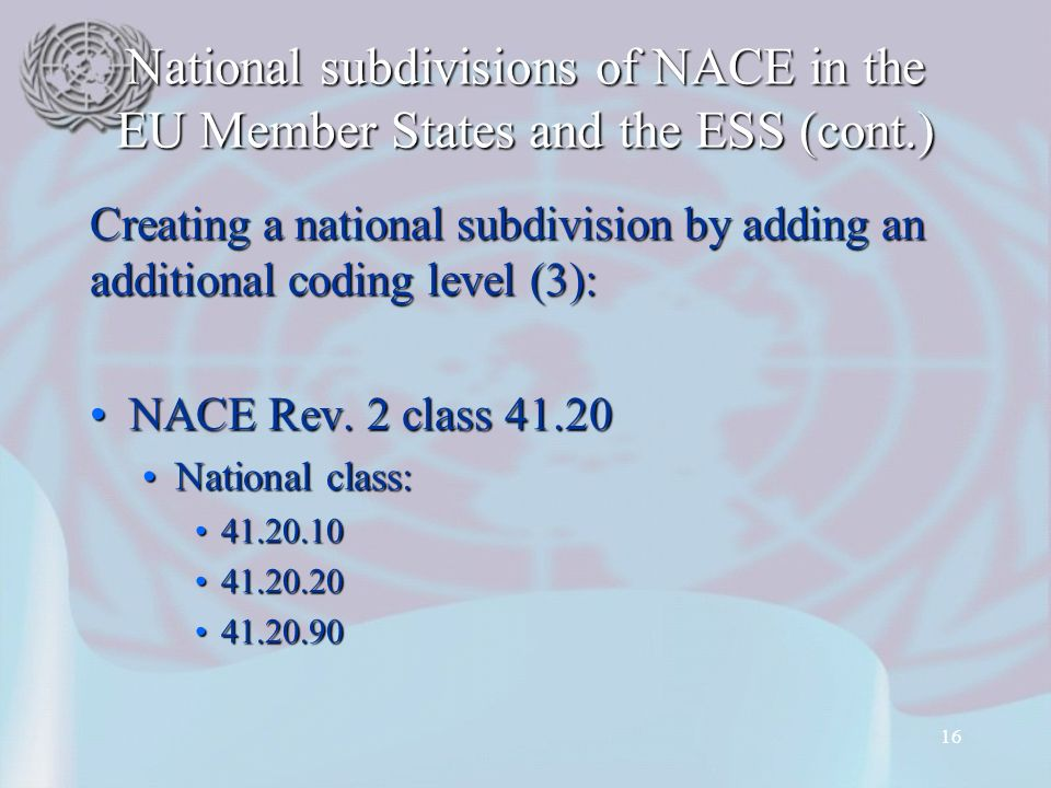 National subdivisions of NACE in the EU Member States and the ESS (cont.) Creating a national subdivision by adding an additional coding level (3): NACE Rev.