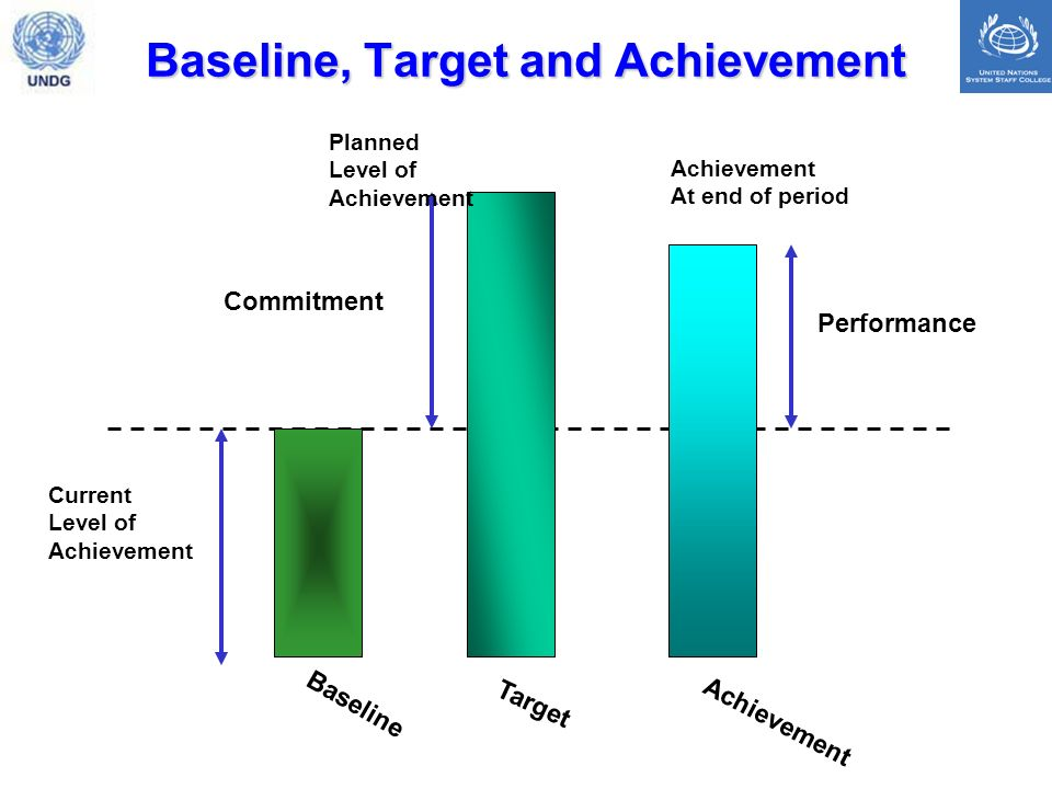 Baseline, Target and Achievement Baseline Commitment Current Level of Achievement Performance Achievement At end of period Target Planned Level of Achievement