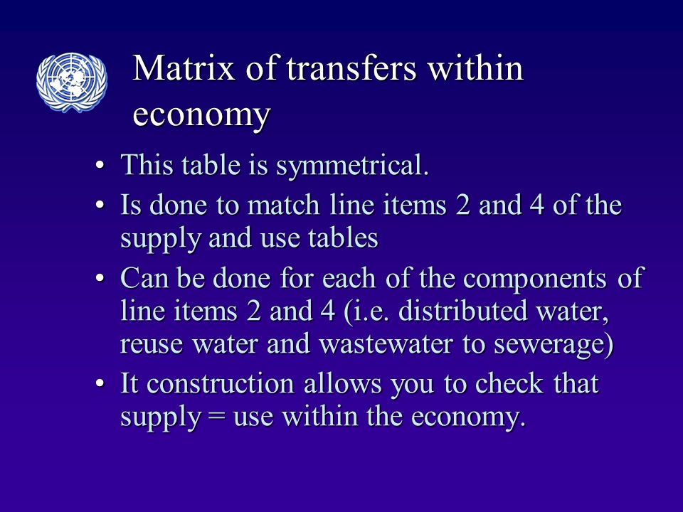 Matrix of transfers within economy This table is symmetrical.This table is symmetrical.