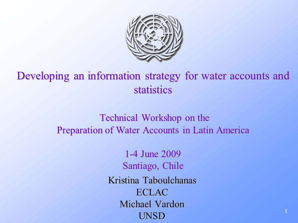 1 Developing an information strategy for water accounts and statistics Technical Workshop on the Preparation of Water Accounts in Latin America 1-4 Ju