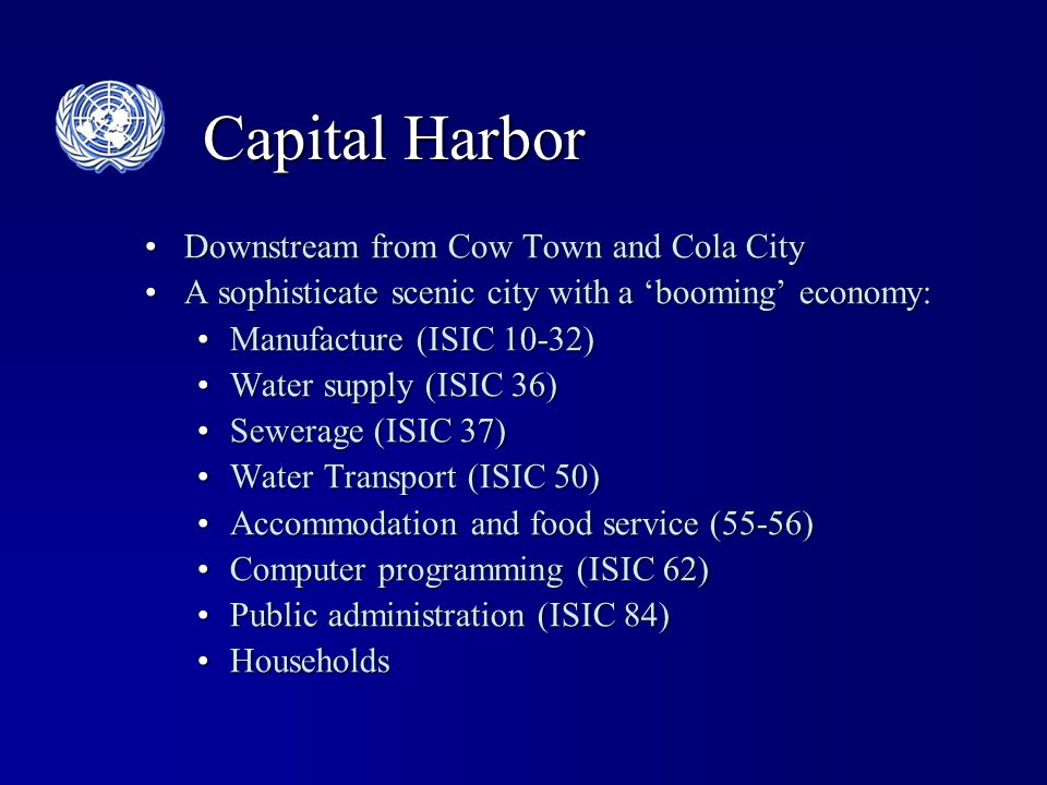 Capital Harbor Downstream from Cow Town and Cola CityDownstream from Cow Town and Cola City A sophisticate scenic city with a booming economy:A sophisticate scenic city with a booming economy: Manufacture (ISIC 10-32)Manufacture (ISIC 10-32) Water supply (ISIC 36)Water supply (ISIC 36) Sewerage (ISIC 37)Sewerage (ISIC 37) Water Transport (ISIC 50)Water Transport (ISIC 50) Accommodation and food service (55-56)Accommodation and food service (55-56) Computer programming (ISIC 62)Computer programming (ISIC 62) Public administration (ISIC 84)Public administration (ISIC 84) HouseholdsHouseholds