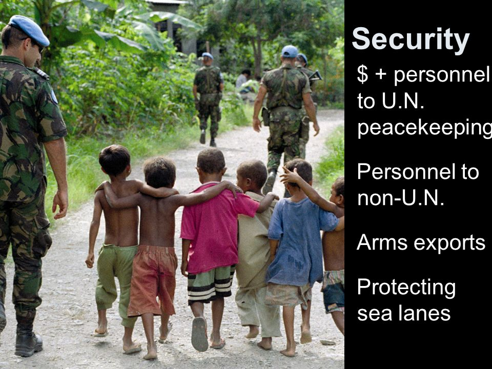 Security $ + personnel to U.N. peacekeeping Personnel to non-U.N. Arms exports Protecting sea lanes