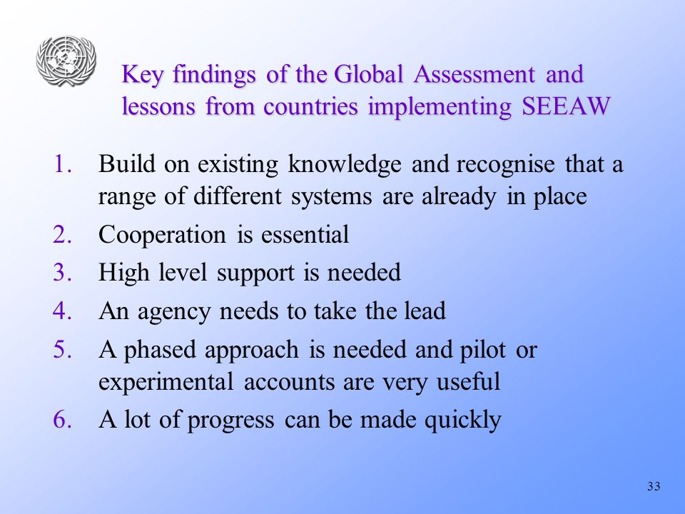 33 Key findings of the Global Assessment and lessons from countries implementing SEEAW 1.