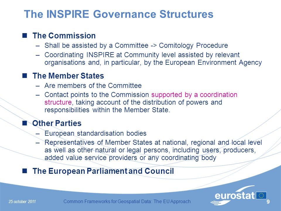 25 october 2011Common Frameworks for Geospatial Data: The EU Approach 9 The INSPIRE Governance Structures The Commission –Shall be assisted by a Committee -> Comitology Procedure –Coordinating INSPIRE at Community level assisted by relevant organisations and, in particular, by the European Environment Agency The Member States –Are members of the Committee –Contact points to the Commission supported by a coordination structure, taking account of the distribution of powers and responsibilities within the Member State.