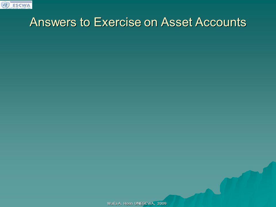 اللجنة الاقتصادية والاجتماعية لغربي آسيا Answers to Exercise on Asset Accounts Wafa A. Hosn UNESCWA, 2009