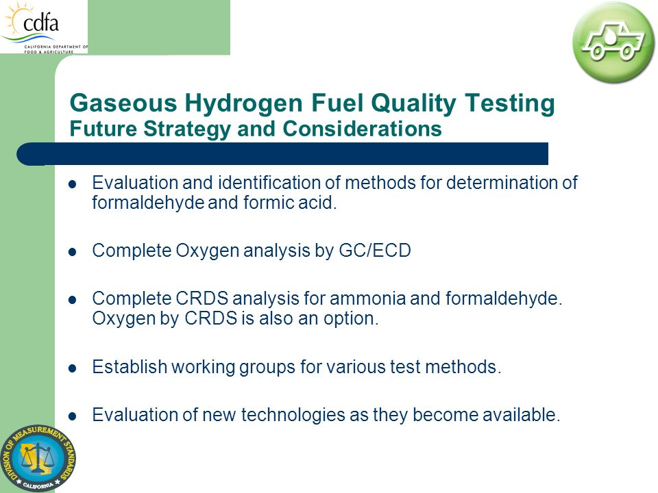 Gaseous Hydrogen Fuel Quality Testing Future Strategy and Considerations Evaluation and identification of methods for determination of formaldehyde an