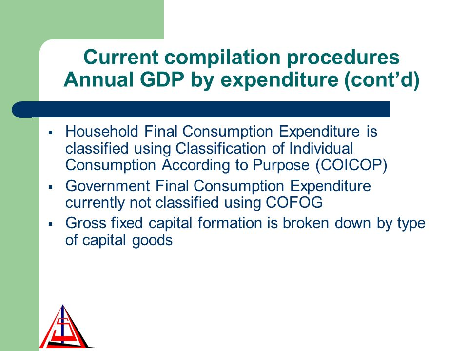 Current compilation procedures Annual GDP by expenditure (contd) Household Final Consumption Expenditure is classified using Classification of Individual Consumption According to Purpose (COICOP) Government Final Consumption Expenditure currently not classified using COFOG Gross fixed capital formation is broken down by type of capital goods