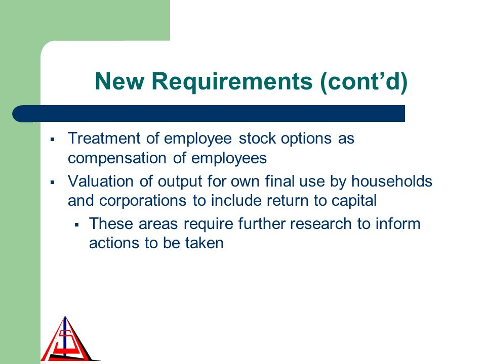 New Requirements (contd) Treatment of employee stock options as compensation of employees Valuation of output for own final use by households and corporations to include return to capital These areas require further research to inform actions to be taken