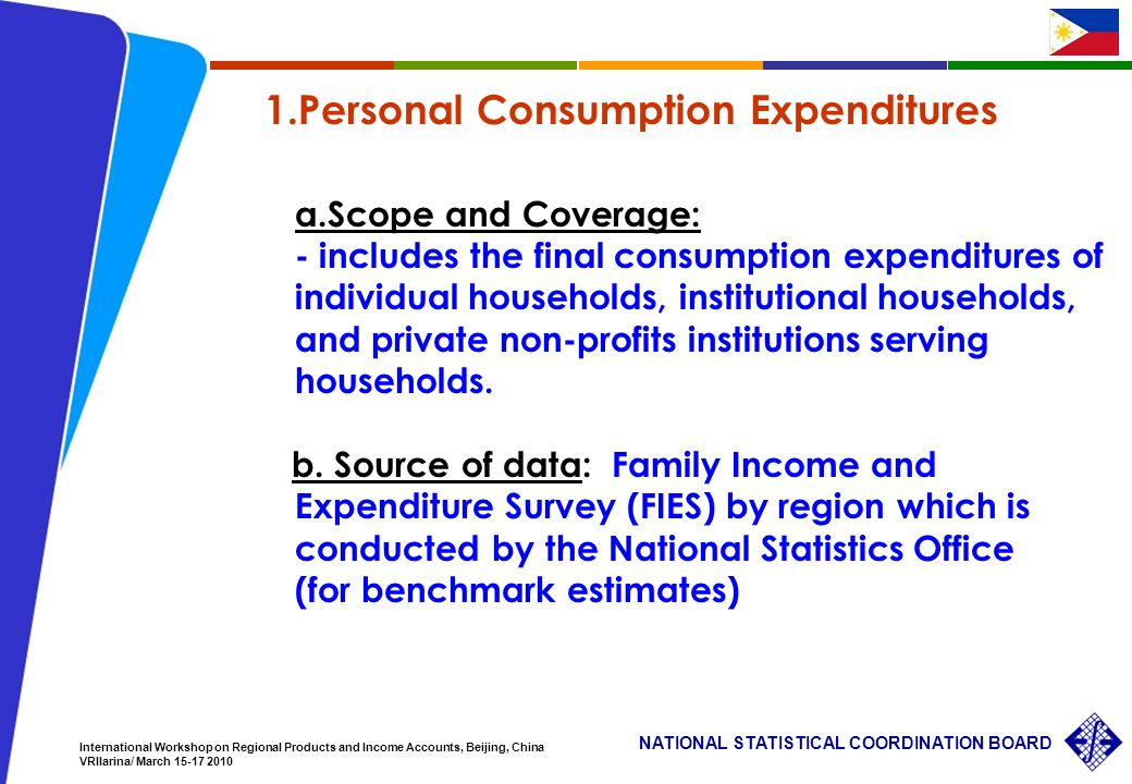 11 NATIONAL STATISTICAL COORDINATION BOARD International Workshop on Regional Products and Income Accounts, Beijing, China VRIlarina/ March 15-17 2010 1.Personal Consumption Expenditures a.Scope and Coverage: - includes the final consumption expenditures of individual households, institutional households, and private non-profits institutions serving households.