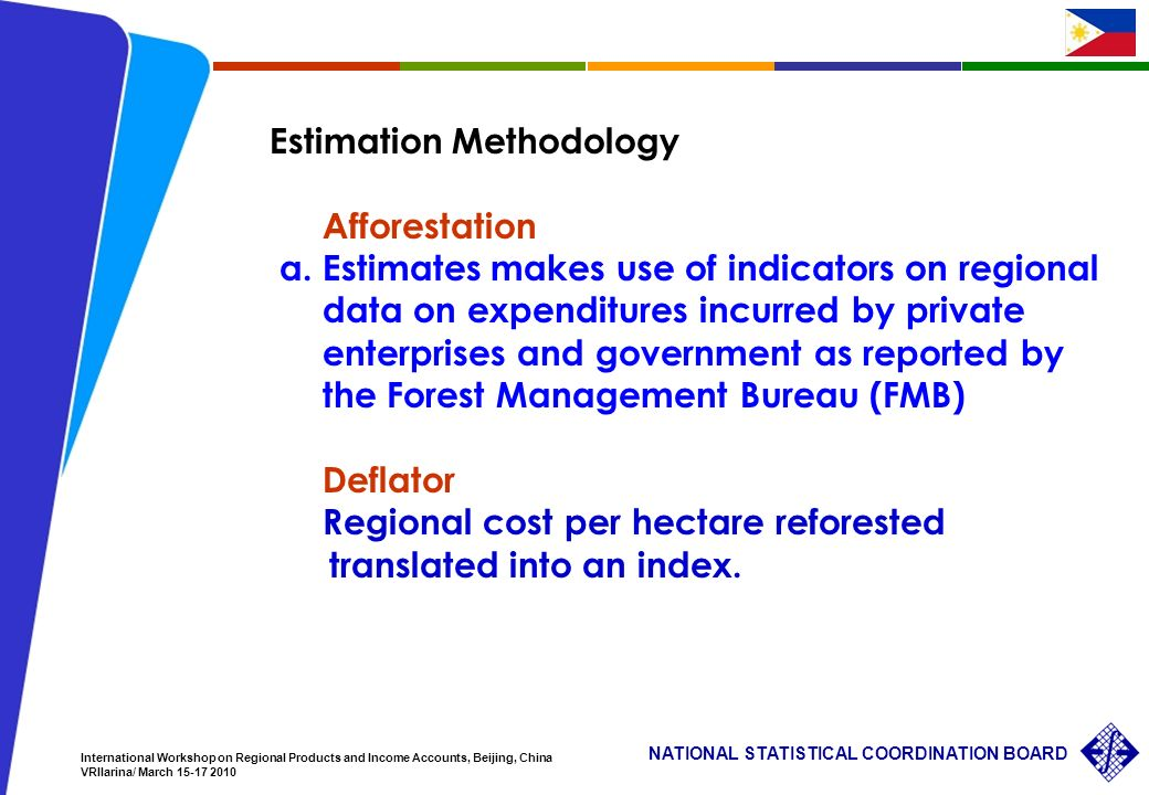 29 NATIONAL STATISTICAL COORDINATION BOARD International Workshop on Regional Products and Income Accounts, Beijing, China VRIlarina/ March Estimation Methodology Afforestation a.