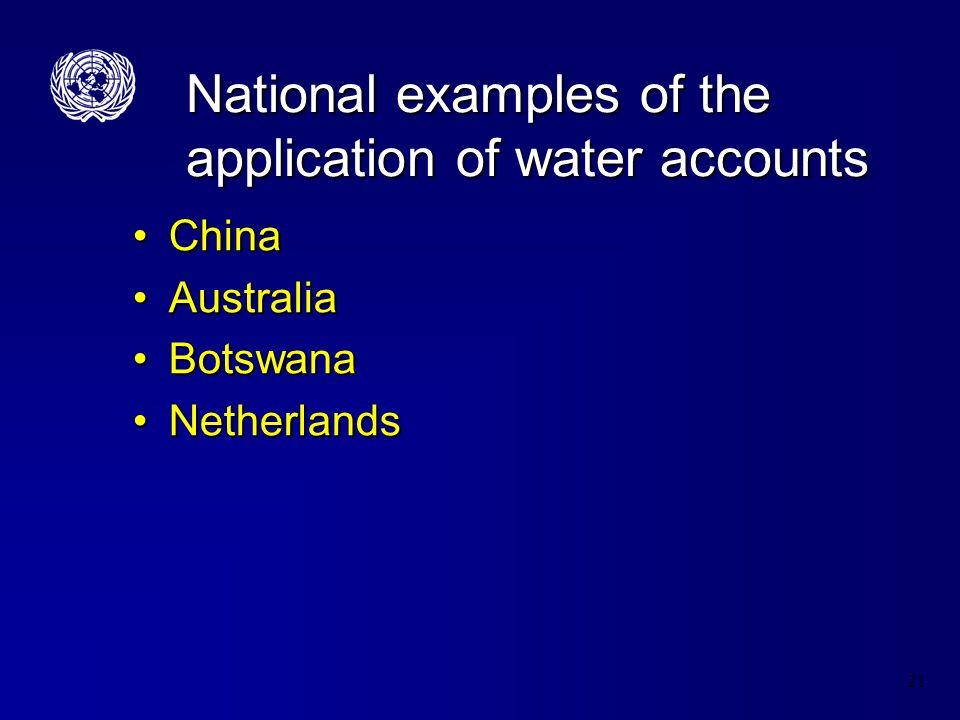 21 National examples of the application of water accounts ChinaChina AustraliaAustralia BotswanaBotswana NetherlandsNetherlands