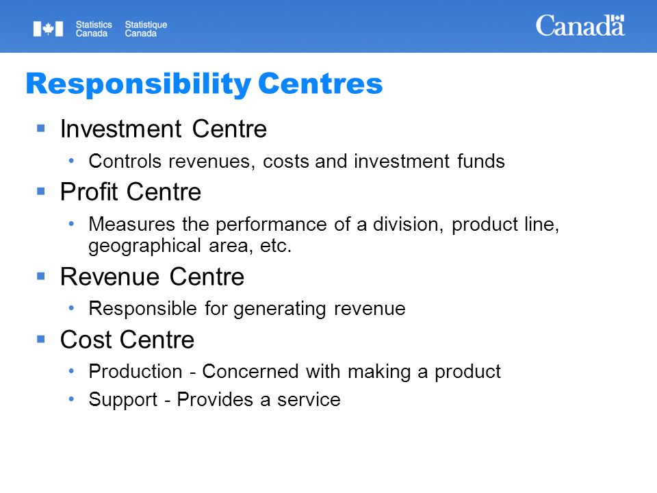 08/02/2014 Statistics Canada Statistique Canada 14 Responsibility Centres Investment Centre Controls revenues, costs and investment funds Profit Centre Measures the performance of a division, product line, geographical area, etc.