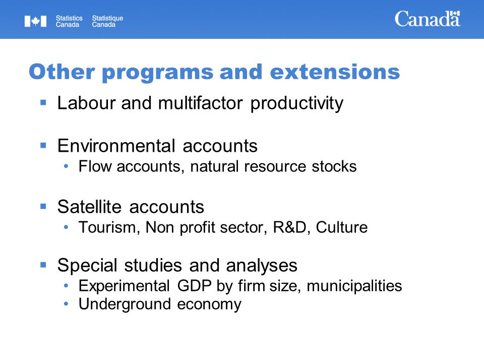 Other programs and extensions Labour and multifactor productivity Environmental accounts Flow accounts, natural resource stocks Satellite accounts Tou