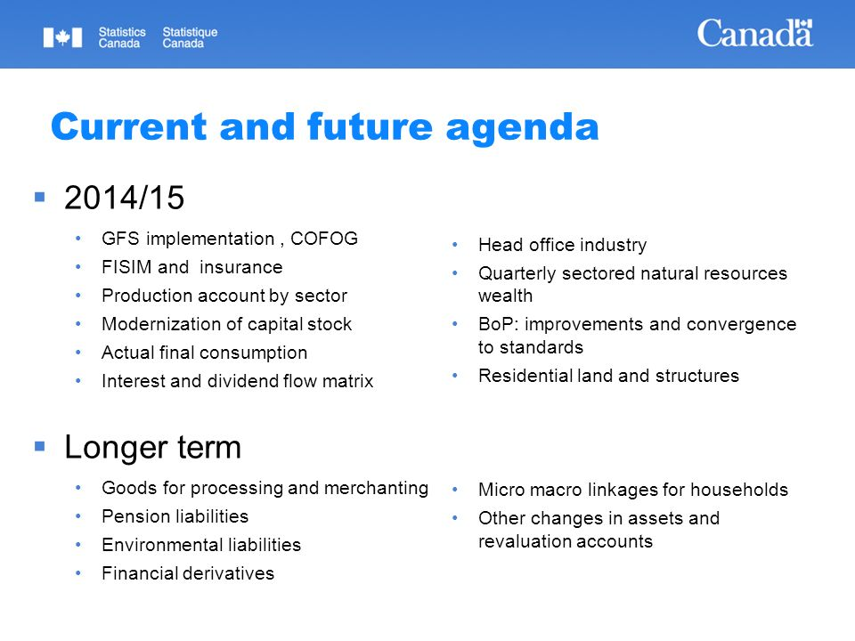Current and future agenda 2014/15 GFS implementation, COFOG FISIM and insurance Production account by sector Modernization of capital stock Actual fin