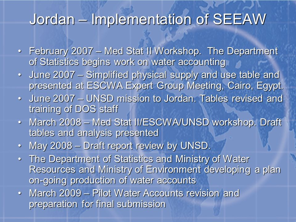 Jordan – Implementation of SEEAW February 2007 – Med Stat II Workshop.