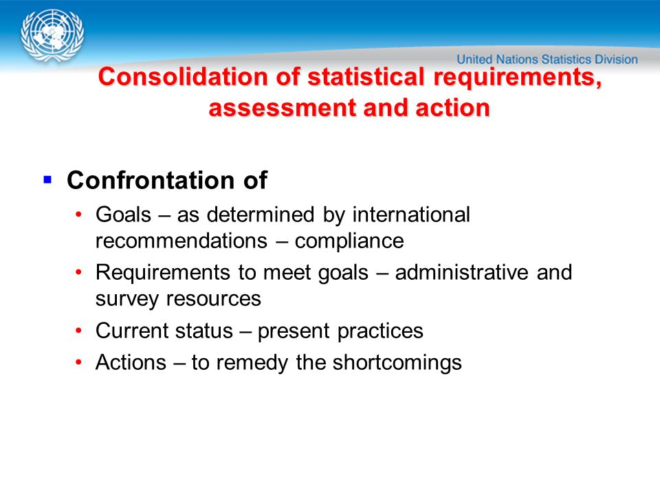 Consolidation of statistical requirements, assessment and action Confrontation of Goals – as determined by international recommendations – compliance