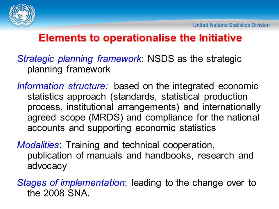 Elements to operationalise the Initiative Strategic planning framework: NSDS as the strategic planning framework Information structure: based on the i