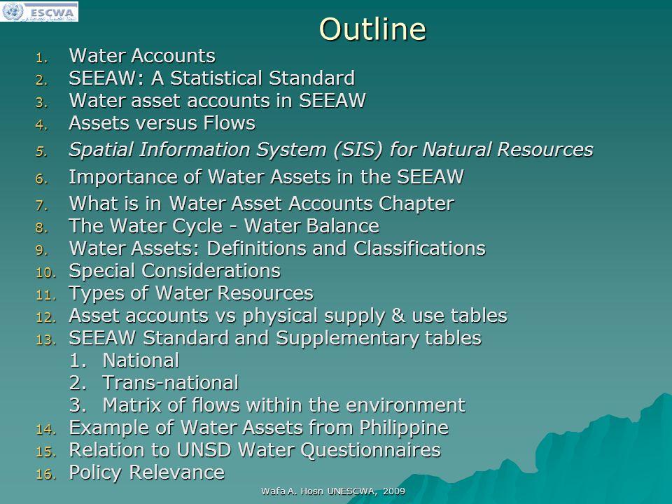 اللجنة الاقتصادية والاجتماعية لغربي آسيا Wafa A. Hosn UNESCWA, 2009Outline 1.