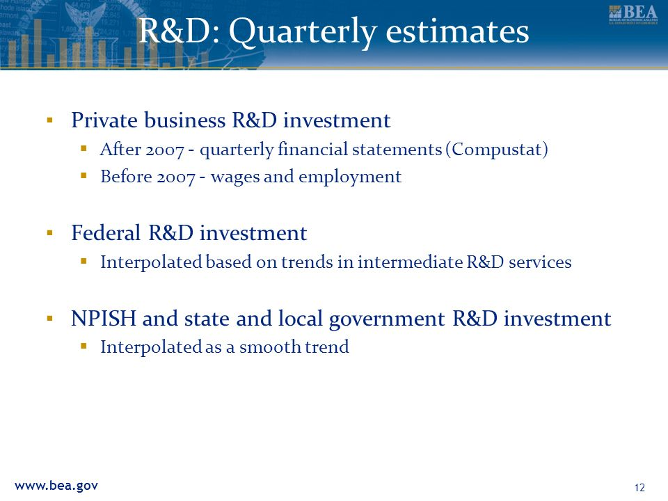 R&D: Quarterly estimates Private business R&D investment After quarterly financial statements (Compustat) Before wages and employment Federal R&D investment Interpolated based on trends in intermediate R&D services NPISH and state and local government R&D investment Interpolated as a smooth trend 12