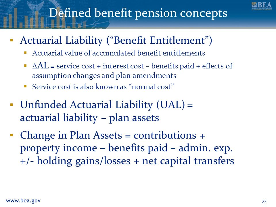 22 Defined benefit pension concepts Actuarial Liability (Benefit Entitlement) Actuarial value of accumulated benefit entitlements AL = service cost + interest cost – benefits paid + effects of assumption changes and plan amendments Service cost is also known as normal cost Unfunded Actuarial Liability (UAL) = actuarial liability – plan assets Change in Plan Assets = contributions + property income – benefits paid – admin.