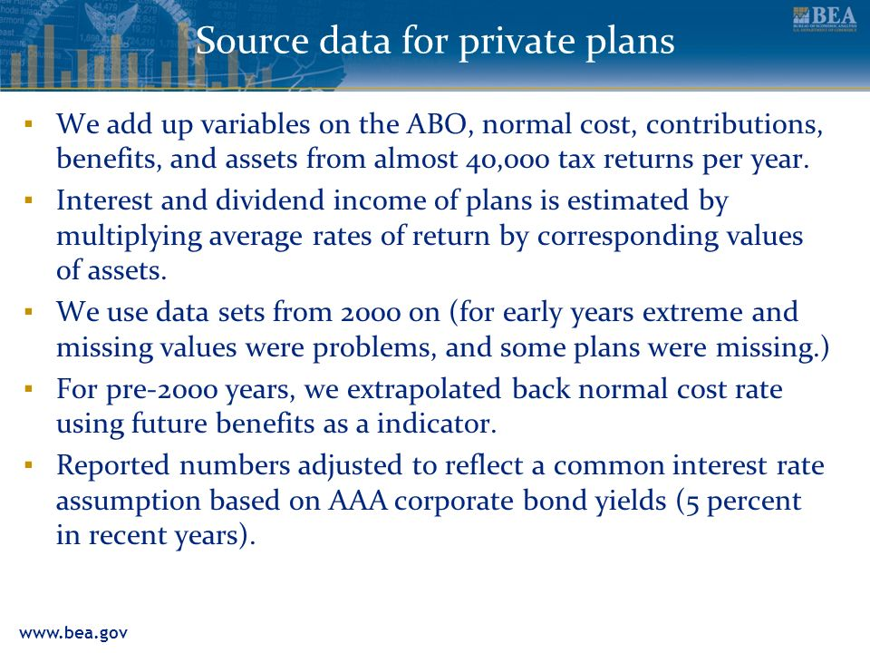 www.bea.gov Source data for private plans We add up variables on the ABO, normal cost, contributions, benefits, and assets from almost 40,000 tax returns per year.