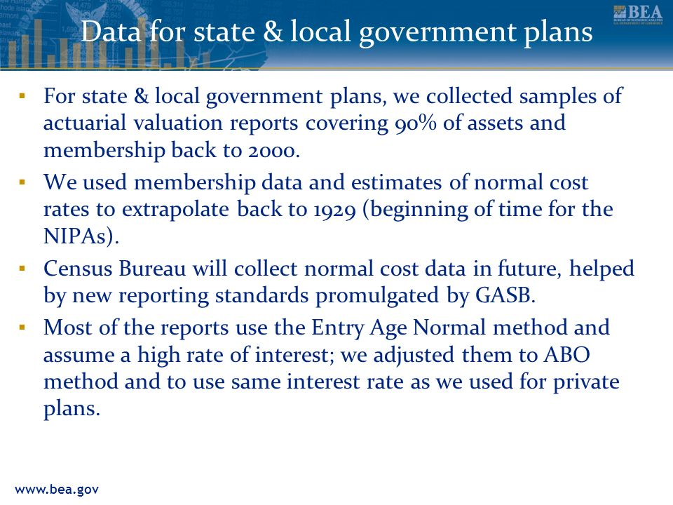 www.bea.gov Data for state & local government plans For state & local government plans, we collected samples of actuarial valuation reports covering 90% of assets and membership back to 2000.