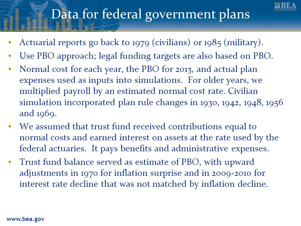 Data for federal government plans Actuarial reports go back to 1979 (civilians) or 1985 (military).