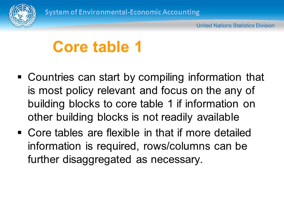 System of Environmental-Economic Accounting Core table 1 Countries can start by compiling information that is most policy relevant and focus on the any of building blocks to core table 1 if information on other building blocks is not readily available Core tables are flexible in that if more detailed information is required, rows/columns can be further disaggregated as necessary.