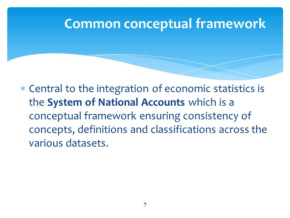Central to the integration of economic statistics is the System of National Accounts which is a conceptual framework ensuring consistency of concepts, definitions and classifications across the various datasets.