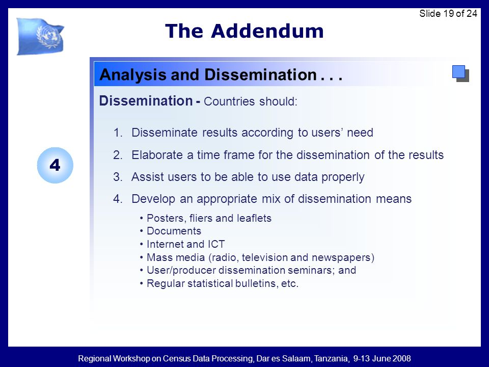 Regional Workshop on Census Data Processing, Dar es Salaam, Tanzania, 9-13 June 2008 Slide 19 of 24 The Addendum Analysis and Dissemination...