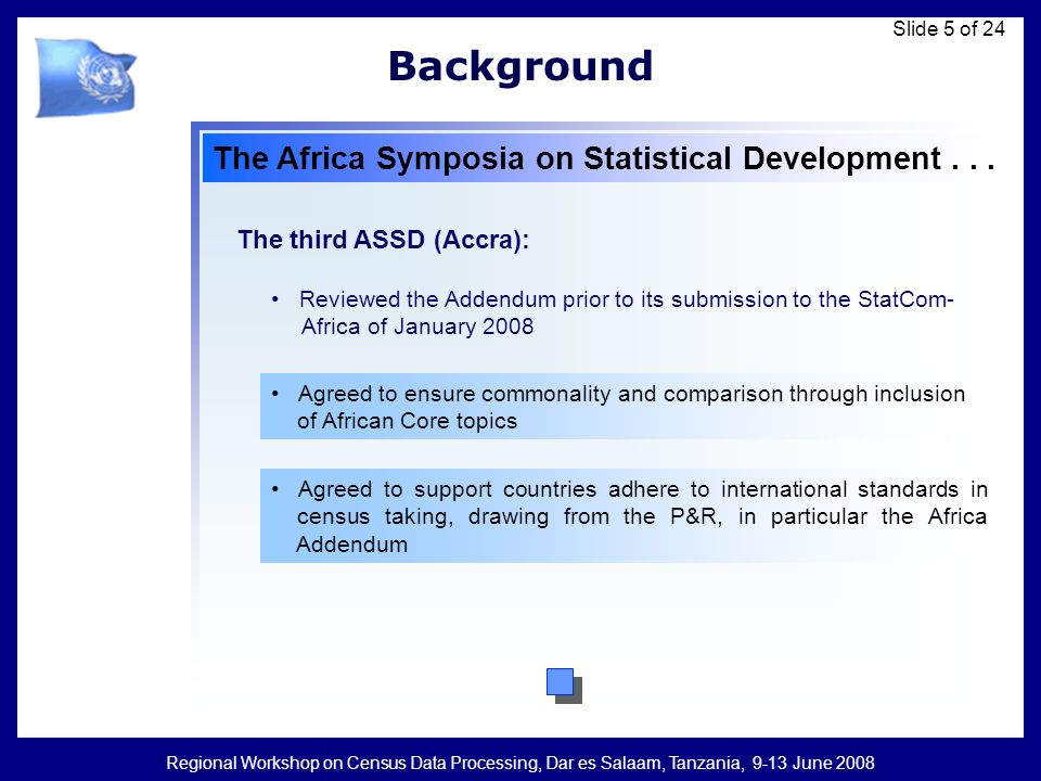 Regional Workshop on Census Data Processing, Dar es Salaam, Tanzania, 9-13 June 2008 Slide 6 of 24 The Addendum Provides guidelines on issues that are unique to Africa and that could not be accommodated in the global P&R Submitted by African countries as a set of guidelines on some core topics, some definitions and issues pertaining to analysis and management phases of censuses operations specific to Africa Does not replace the global P&R but complements it To be used in conjunction with the global P&R