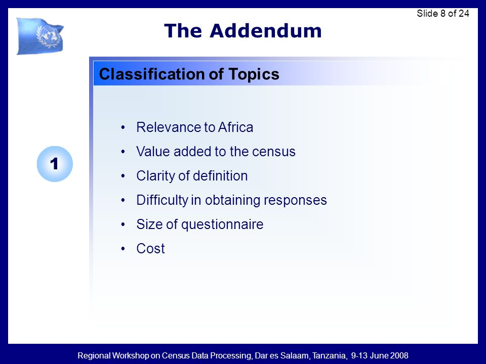 Regional Workshop on Census Data Processing, Dar es Salaam, Tanzania, 9-13 June 2008 Slide 8 of 24 The Addendum Classification of Topics Relevance to Africa Value added to the census Clarity of definition Difficulty in obtaining responses Size of questionnaire Cost 1