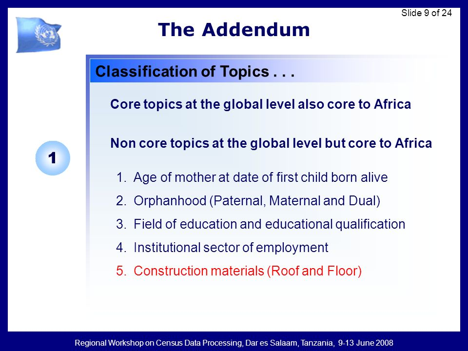 Regional Workshop on Census Data Processing, Dar es Salaam, Tanzania, 9-13 June 2008 Slide 9 of 24 The Addendum Classification of Topics... 1.Age of m