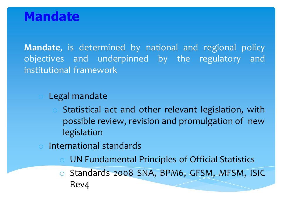 Mandate, is determined by national and regional policy objectives and underpinned by the regulatory and institutional framework o Legal mandate o Statistical act and other relevant legislation, with possible review, revision and promulgation of new legislation o International standards o UN Fundamental Principles of Official Statistics o Standards 2008 SNA, BPM6, GFSM, MFSM, ISIC Rev4 Mandate