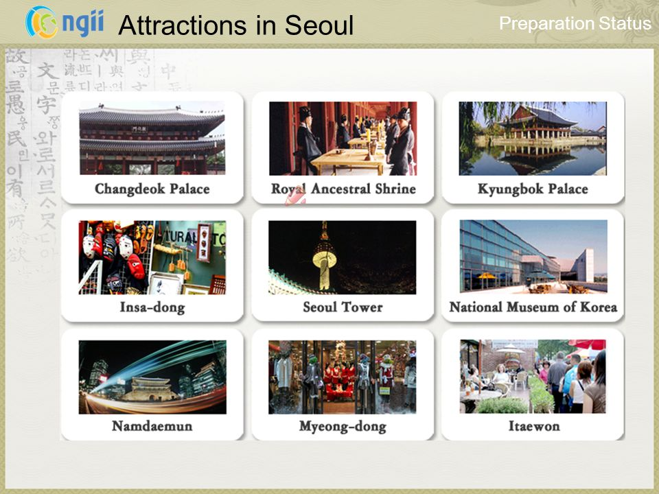 Attractions in Seoul Preparation Status